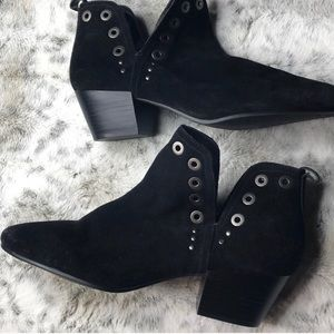 Black ankle boots: suede leather silver detailing